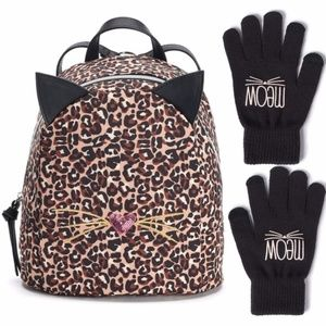 TS&J Cheetah Cat Face Backpack + Meow Gloves NEW!